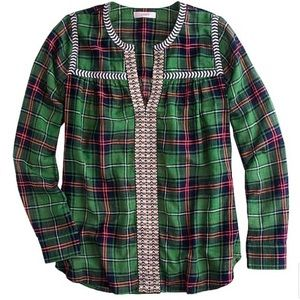 J Crew plaid peasant top with embroidery accents
